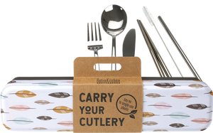 Stainless Steel Cutlery Set for Lunch Box - Feathers