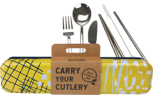 Stainless Steel Cutlery Set for Lunch Box - Yellow
