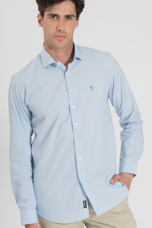 CAMISA OXFORD CUELLO ITALIANA CELESTE