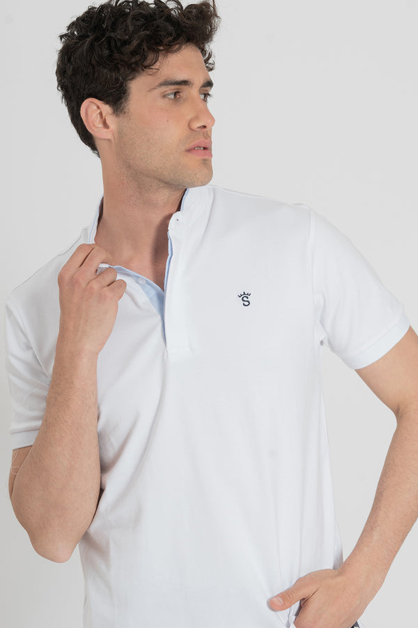 POLO BLANCO CUELLO MAO