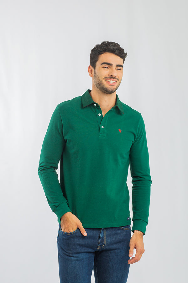 Polo Manga Larga Verde Bosque