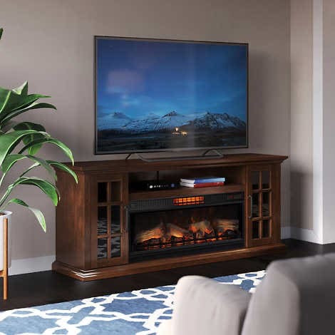 TRSANTI MAYSON TV CONSOLE WITH CLASSICFLAME COOLGLOW 2- IN - 1 ELECTRIC FIREPLACE AND FAN (ASSEMBLED)