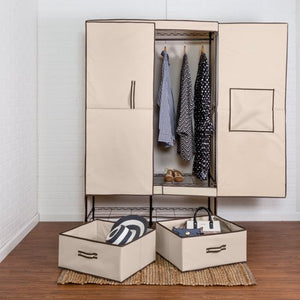 HONEY CAN DO DOUBLE - DOOR CLOSET STORAGE WITH TWO DRAWERS, BEIGE/ BROWN