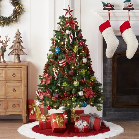 HOLIDAY TIME PRE-LIT CHRISTMAS TREE 5 FT WITH DECORATIONS, MULTI