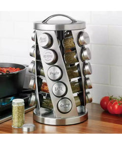 KAMENSTEIN 20- JAR STAINLESS STEEL REVOLVING SPICE RACK W/ REAL SPICES