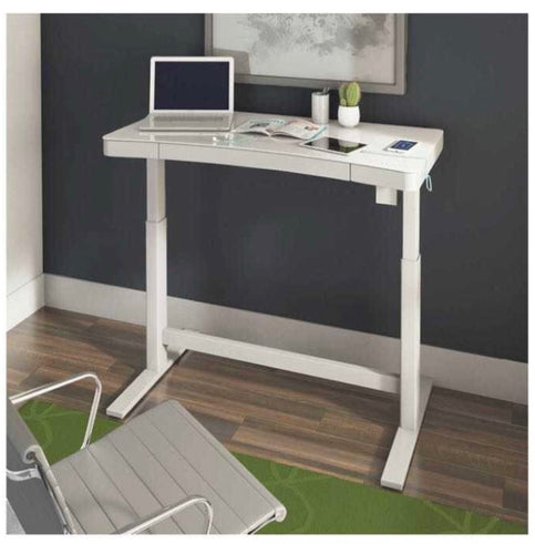 TRESANTI ADJUSTABLE HEIGHT DESK, WHITE (ASSEMBLED)