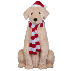 HOLIDAY TIME LIFE-SIZE ANIMATED GOLDEN RETRIEVER CHRISTMAS FIGURINE, 34""