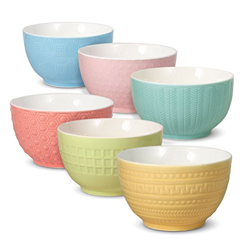 MIKASA JARDIN TEXTURED PORCELAIN SERVING BOWLS - SET OF 6