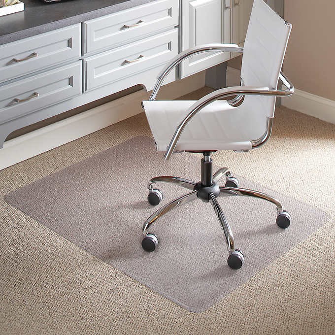 "ES ROBBINS CHAIR  MAT FOR FLAT/ LOW PILE CAROET, 46"" X 60"" NO LIP, CLEAR"