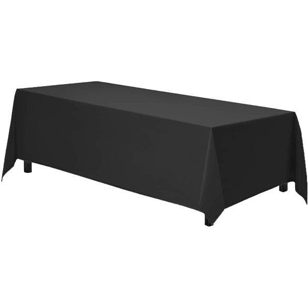 GEE DI MODA 90- INCH- BY -32 INCH POLYESTER RECTANGULAR TABLECLOTH, BLACK