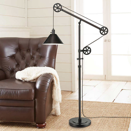 INDUSTRIAL PULLEY FLOOR LAMP