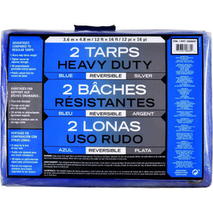 HEAVY DUTY REVERSIBLE TARPS , BLUE AND SILVER , 12'x16' , 2 CT
