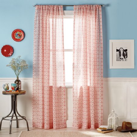 THE PIONEER WOMAN FRONTIER MEDALLION POLE TOP CURTAIN SET OF 2