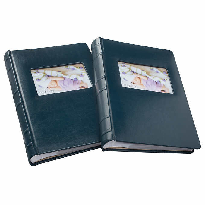OLD TOWN BONDED LEATHER BOOK BOUND PHOTO ALBUMS, 2- PACK