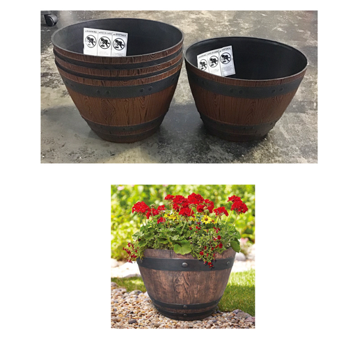 "SOUTHERN PATIO 13"" WOODFORD BARREL PLANTERS 4 PACK"