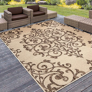 "ORIAN RIGS FARMHOUSE INDOOR/OUTDOOR MANOR GATE AREA RUG, 7'5""x 10'"