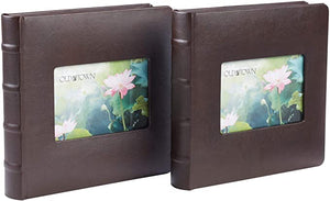 OLD TOWN BONDED LEATHER PHOTO ALBUM, 2 PACK (2UP, BROWN)