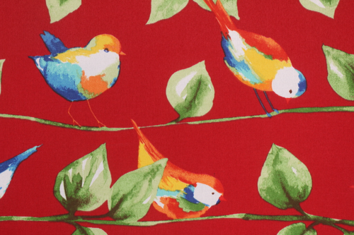 RICHLOOM CURIOS BIRD PRINTED POLY OUTDOOR FABRIC IN BERRY 2 YARDS