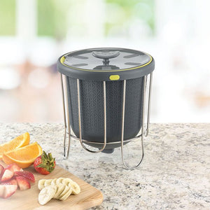 POLDER INDOOR PORTABLE LIGHTWEIGHT POP KITCHEN COMPOSTER WITH STAND , GRAY