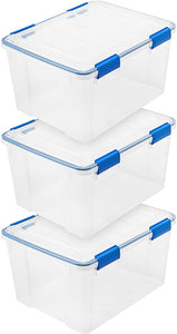 IRIS WEATHERTIGHT MULTI-PURPOSE STORAGE BOX, 44 QUART, CLEAR WITH BLUE BUCKLES, 3 PACK