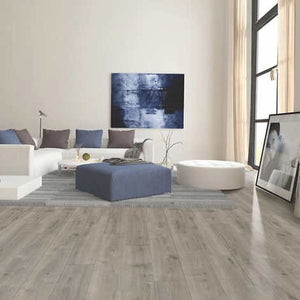 MOHAWK HOME MISTY HARBOR OAK WATERPROOF RIGID 5MM THICK LUXURY VINY PLANK FLOORING + 1MM ATTACHED PAD INCLUDED