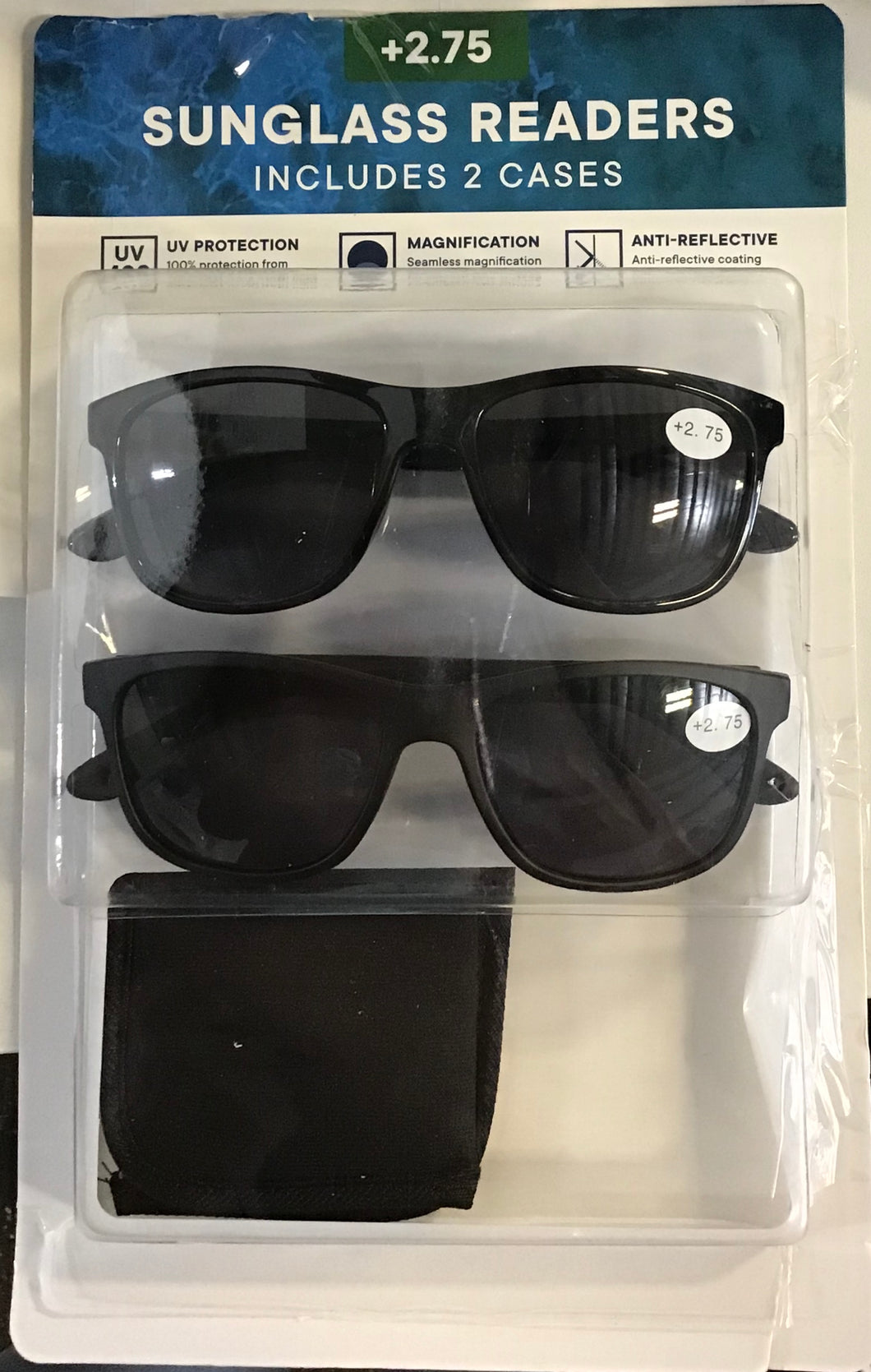 SUNGLASSES READERS INCLUDES 2 CASES (+2.75 )