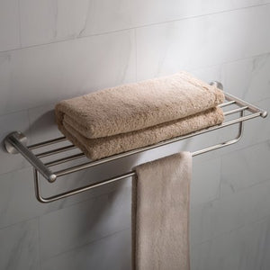 KRAUS ELIE BATHROOM SHELF WITH TOWEL BAR, BRUSHED NICKEL FINISH