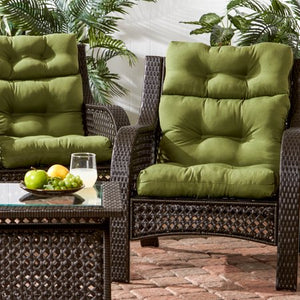 SOLUD SUMMERSIDE GREEN OUTDOOR HIGH BACK DINING CHAIR CUSHION (2- PACK )
