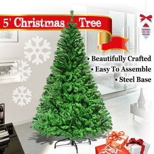 STRONG CAMEL NEW GREEN 5' CLASSIC PINE CHRISTMAS XMAS ARTIFICIAL TREE-WITH SOLID METAL STAND