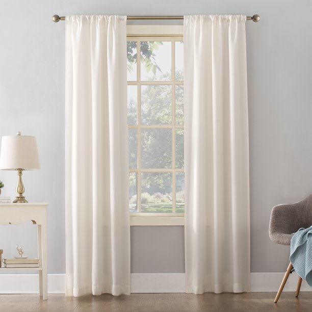 MAINSTAYS TEXTURED SOLID CURTAIN PANEL PAIR (38 X 95)