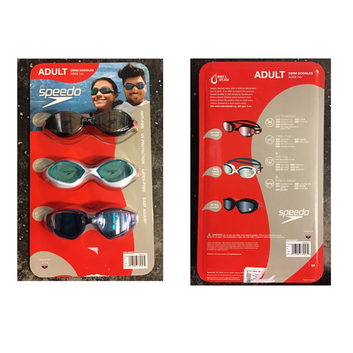 SPEEDO ADULT UNISEX GOGGLES, 3- PACK
