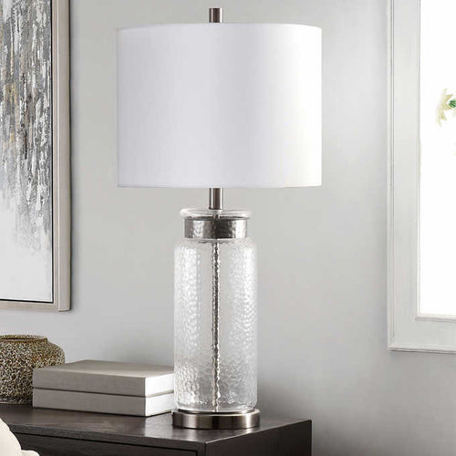 MODOVO GLASS TABLE LAMP, SILVER