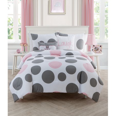 VVNY HOME PINK PARADE POLKA - DOT REVERSIBLE KIDS BEDDING COMFORTER SET, FULL
