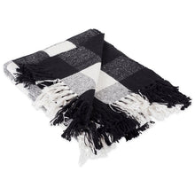 "Load image into Gallery viewer, DII BUFFALO CHECK DECORATIVE THROW 50"" X 60"" 100 % COTTON BLACK AND WHITE"