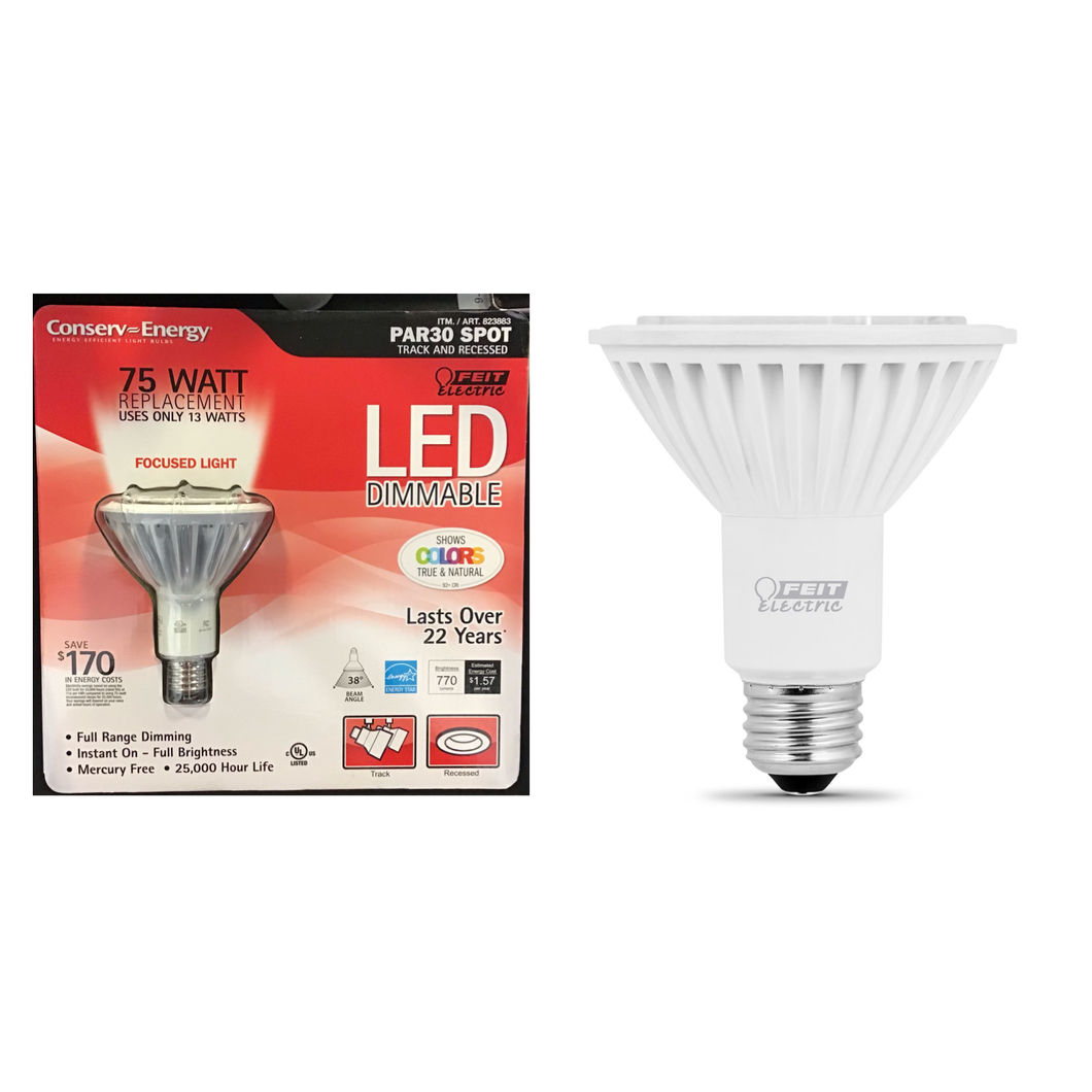 FEIT ELECTRIC PAR30 SPOT 75 WATT 770 LUMEN DIMMABLE LED LIGHT BULB