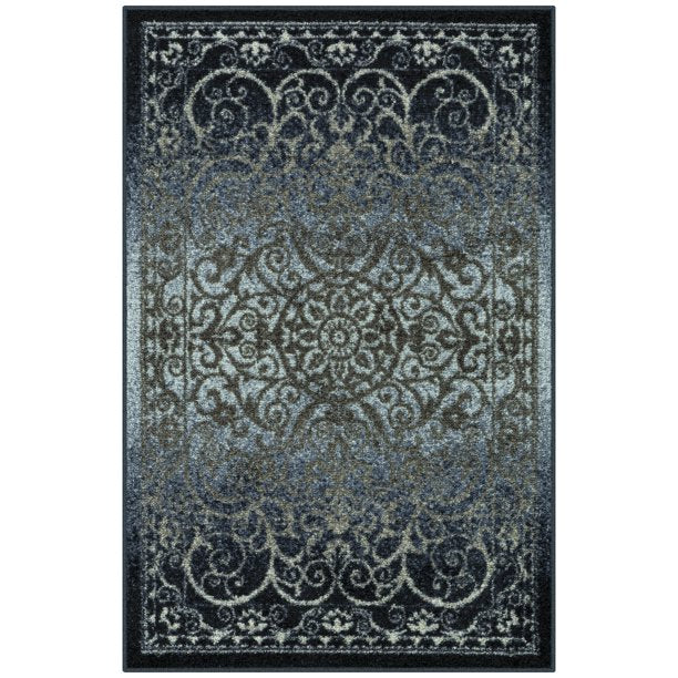 MAINSTAYS INDIA MEDALLION TEXTURED PRINT RUNNER COLLECTION, NAVY/ GRAY 2'6 X 3' 10""
