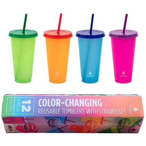 MANNA COLOR CHANGING PLASTIC TUMBLERS, SET OF 12
