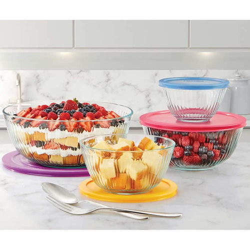 PYREX 8-PIECE GLASS SCULPUTED MIXING BOWLS