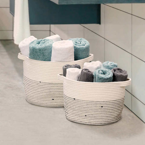 SET OF 2 ) MESA COTTON ROPE STORAGE BINS BASKETS W HANDLES,MULTI-USE ORGANIZER