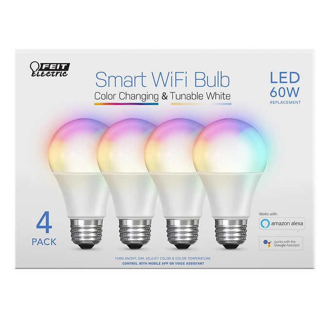 FEIT ELECTRIC WI- FI SMART BULBS, 4- PACK