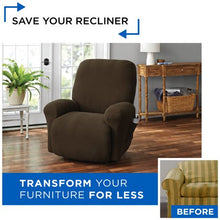 Load image into Gallery viewer, MAINSTAYS PIXEL 4- PIECE STRETCH RECLINER CHAIR SLIPCOVER , CHOCOLATE