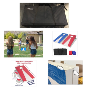 GOSPORTS RED & BLUE REGULATION SIZE WOOD CORNHOLE SET - 4' x 2' BOARDS