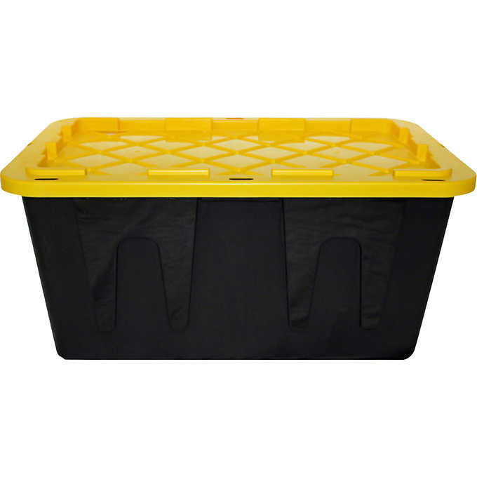 PLASTIC STORAGE BIN WITH LID, 27 GALLO., BLACK AND YELLOW