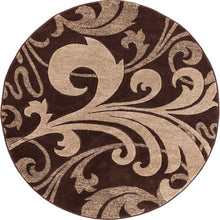 "Load image into Gallery viewer, WELL WOVEN RUBY LESLIE FLEUR DE LIS MODERN CONTEMPORARY BROWN DAMASK 5'3"" ROUND AREA RUG"