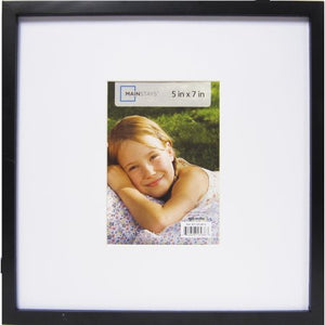 MAINSTAYS 12.25X12.25 MATTED TO 5X7 KINEAR FRAME, BLACK