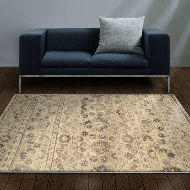 IMPRESSIONS TADITA DISTRESSED FLORAL INDOOR AREA RUGS SIZE : 5x8
