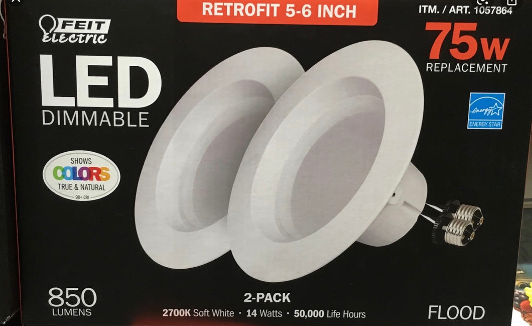 FEIT ELECTRIC 75W LED DIMMABLE 2- PACK