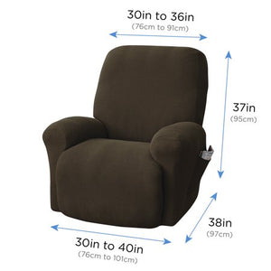 MAINSTAYS PIXEL 4- PIECE STRETCH RECLINER CHAIR SLIPCOVER , CHOCOLATE