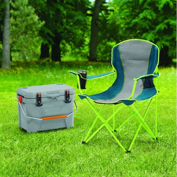 OZARK TRAIL OVERSIZED QUAD CHAIR FOR OUTDOOR, BLUE