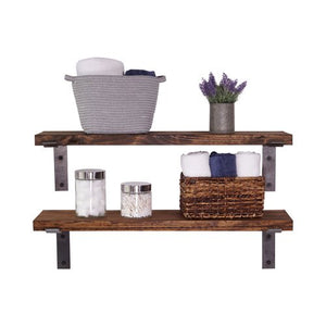 INDUSTRIAL BRACKET SHELVES SET OF 2 36- INCH DARK WALNUT